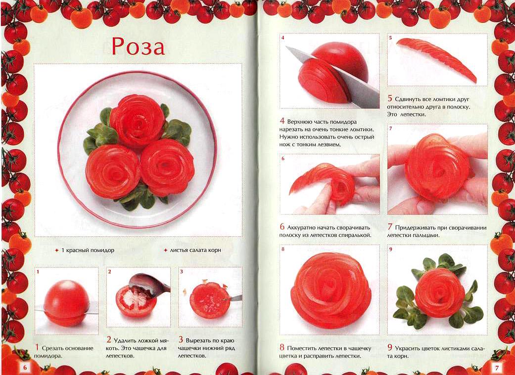 Как из помидор сделать розочку из