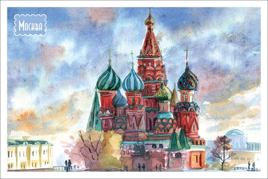 Набор открыток о москве на английском языке, новолетием 7528 новогодние